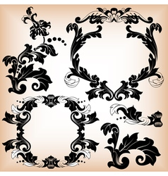 Stylized floral pattern and frame vector image