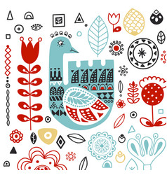 stylized folk ornament with swan template vector image