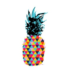Summer pineapple design with color hipster shapes vector image