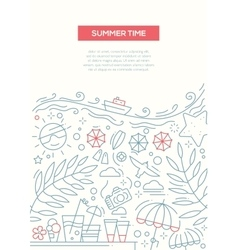 Summer Time - line design brochure poster template vector image