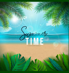 summer time with palm leaves vector image
