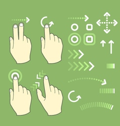 Touch screen gesture hand signs and movement vector