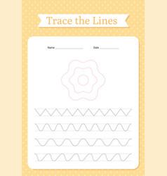 Trace lines worksheet preschool writing practice vector