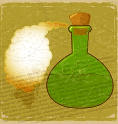 Vintage card with a picture green bottle of poison vector image