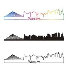 Warsaw skyline linear style with rainbow vector