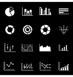 white diagrams icon set vector image