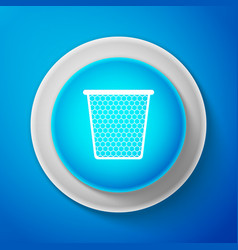 white trash can icon isolated on blue background vector image