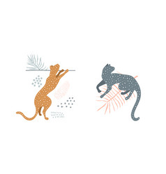 wild cats in nature minimal modern art silhouette vector image