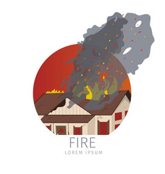 wooden house on fire icon vector image