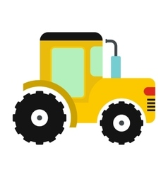 Yellow tractor icon vector