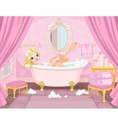Young princess taking bath vector