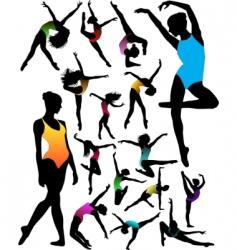 Ballet dancer silhouettes vector
