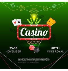 Casino invitation poster vector image vector image