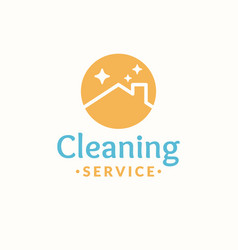 cleaning service logo roof of the house in the vector image vector image