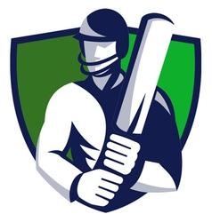 cricket player shield vector image vector image