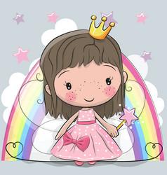 cute cartoon fairy tale princess fairy vector image