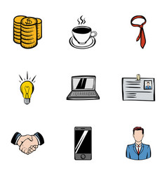 firm icons set cartoon style vector image