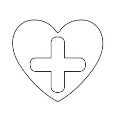 silhouette heart health with cross form vector image vector image