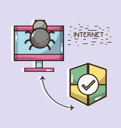 Television with spider and shield icons vector