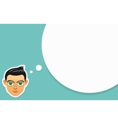 Boy face with think bubble vector image