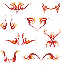 Fire tattoo set vector image vector image