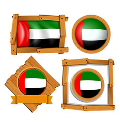 flag icon design for arab emirates in different vector image vector image