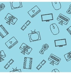 Hand drawn online cinema pattern vector image
