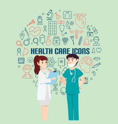 health care icons for medical with infographic vector image vector image