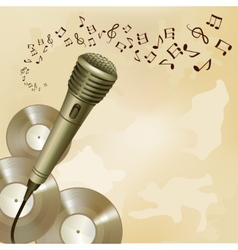 Retro microphone on music background vector image vector image