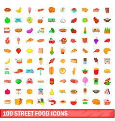 100 street food icons set cartoon style vector image vector image