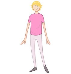 Blond Cheerful Guy In Pink Shirt vector image vector image