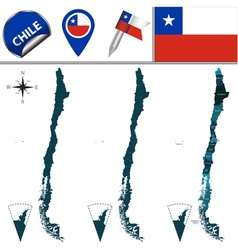 Chile map with named divisions vector image vector image