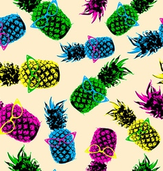 Retro hipster summer pattern with color pineapple vector image