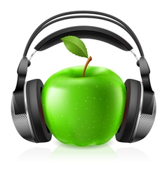apple with headphones vector image vector image
