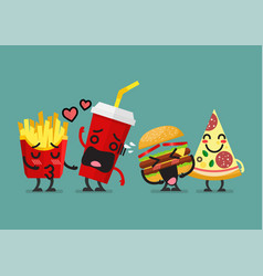 fast food characters friendship vector image