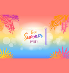 hot summer party background with palm trees vector image
