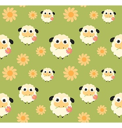 Seamless pattern with flat sheep vector image vector image