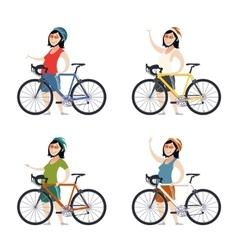Set of cyclist women vector image