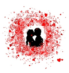 Valentine frame design with couple silhouette vector image vector image