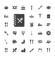 33 fork icons vector