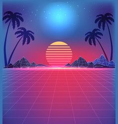 80s style landscape with grid texture in neon vector