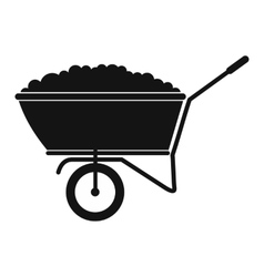A wheelbarrow full of turf black simple icon vector