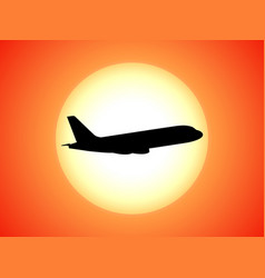 Airplane silhouette background sunset vector
