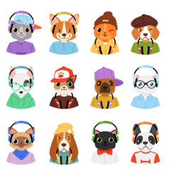 Animal in headphones animalistic character vector