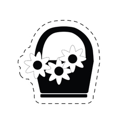 Basket flower decoration ornament pictogram vector