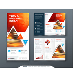 Bifold brochure design red orange template for vector