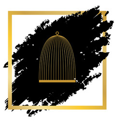 bird cage sign golden icon at black spot vector image