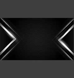 Black realistic background with silver geometric vector