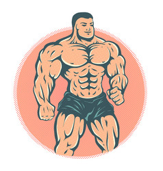 Bodybuilder on halftone background vector