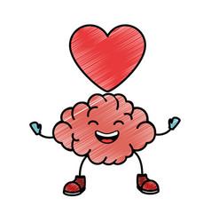 Brain with heart kawaii character icon vector